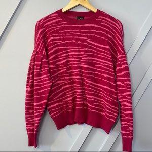 Free Press burgundy punch tiger stripe sweater